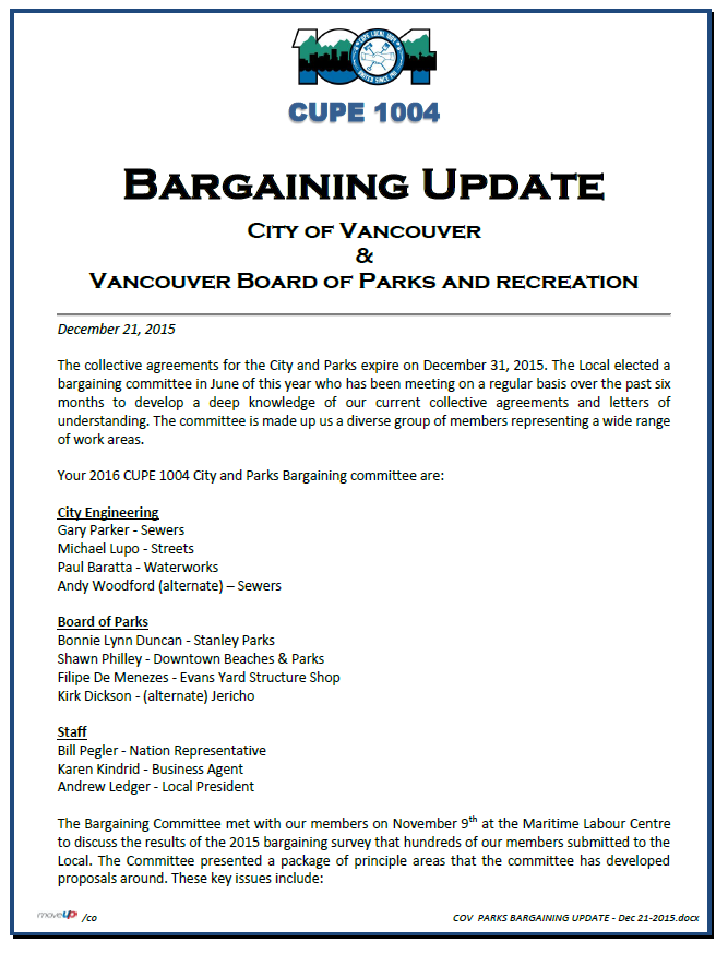 Bargaining update Dec 21 2015